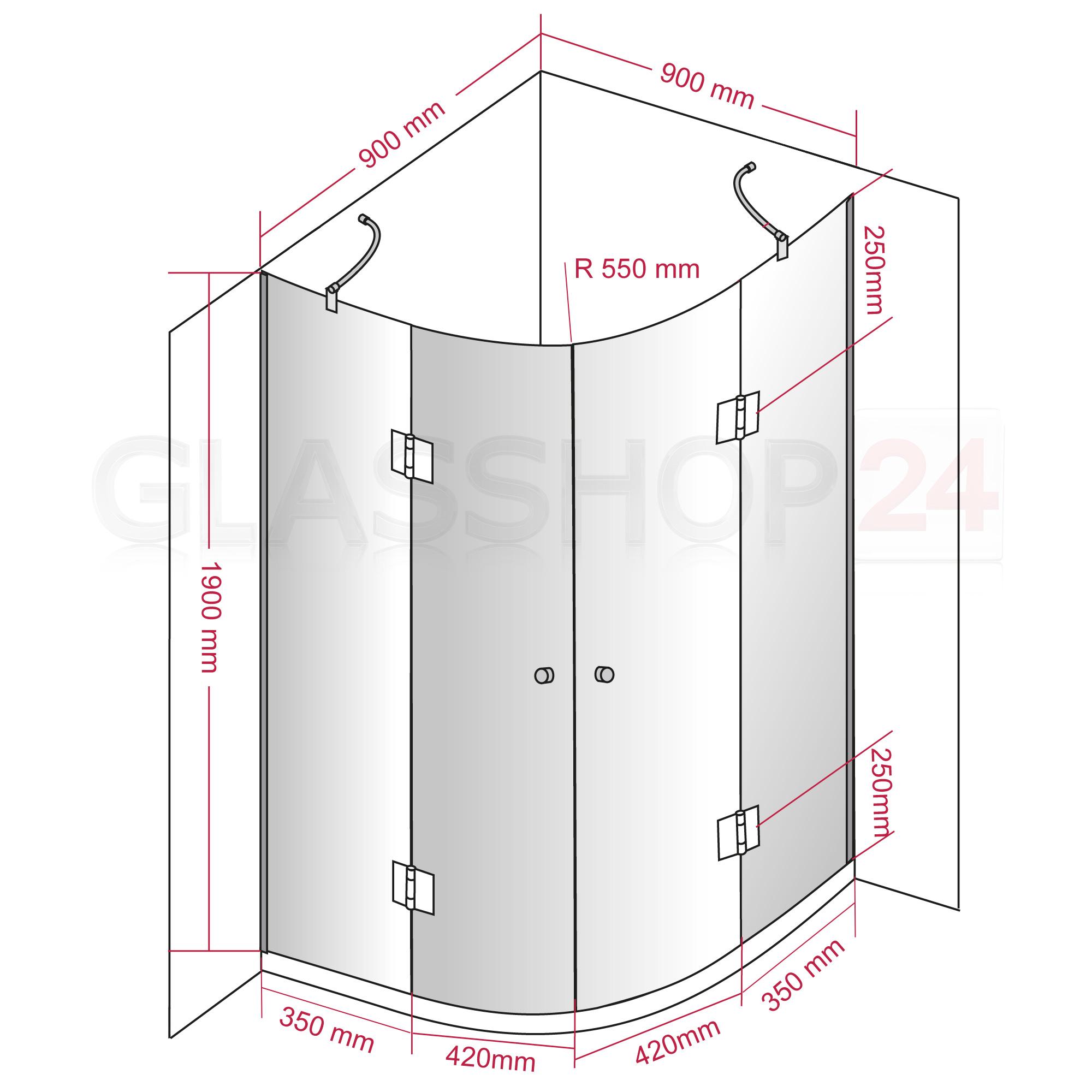 8mm Glas Duschkabine Viertelkreis Duschabtrennung rund Echtglas NANO Dusche