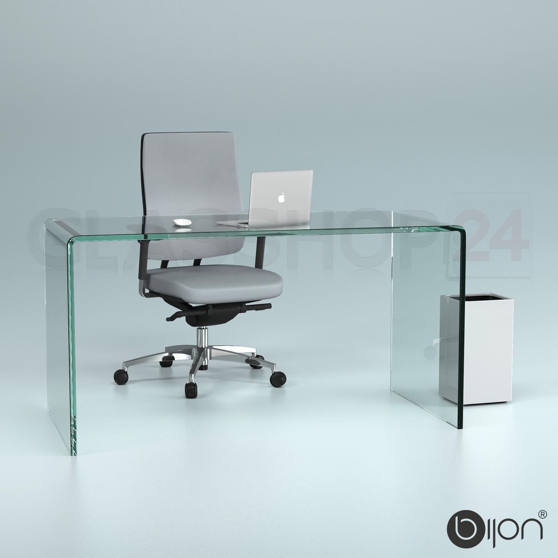 glas schreibtisch echtglas (b/t/h) 140x70x73cm glastisch bürotisch