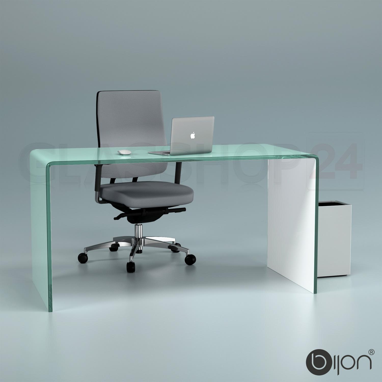 Computertisch glas schwarz  Glas Schreibtisch Echtglas (B/T/H) 140x70x73cm Glastisch Bürotisch ...