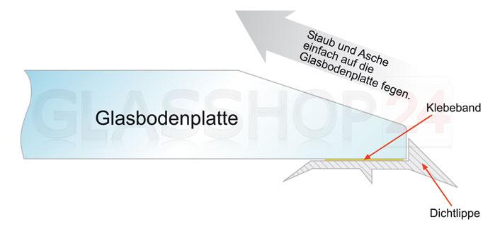 Skizze: 3-Fach Silikon-Dichtlippe für Glasbodenplatten