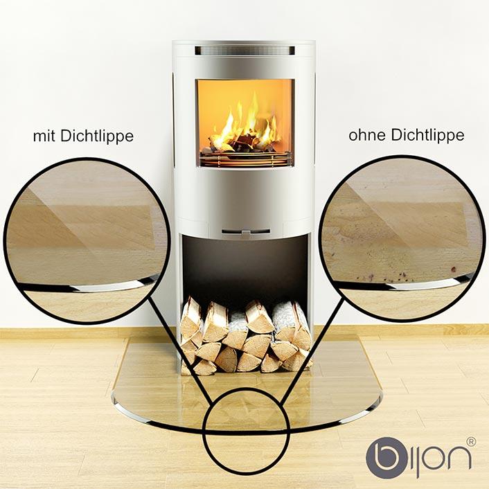 Vergleich mit und ohne 3-Fach Silikon-Dichtlippe für Glasbodenplatten