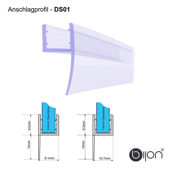 DU02-C 100cm Wasserabweisprofil gebogen f/ür 6mm Glas