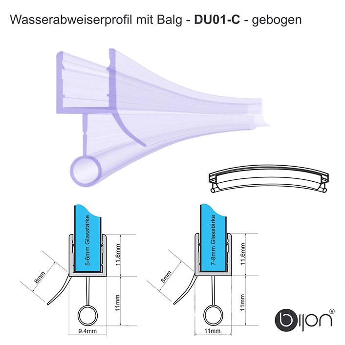 Wasserabweiserprofil mit Balg, gebogen - DU01 - Duschdichtung