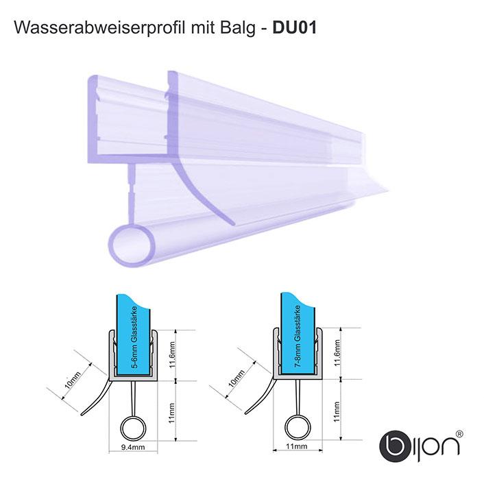 Wasserabweiserprofil mit Balg - DU01 - Duschdichtung