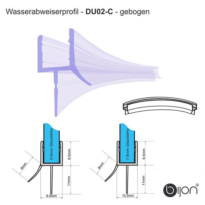 Wasserabweiserprofil gebogen - DU02 - Duschdichtung