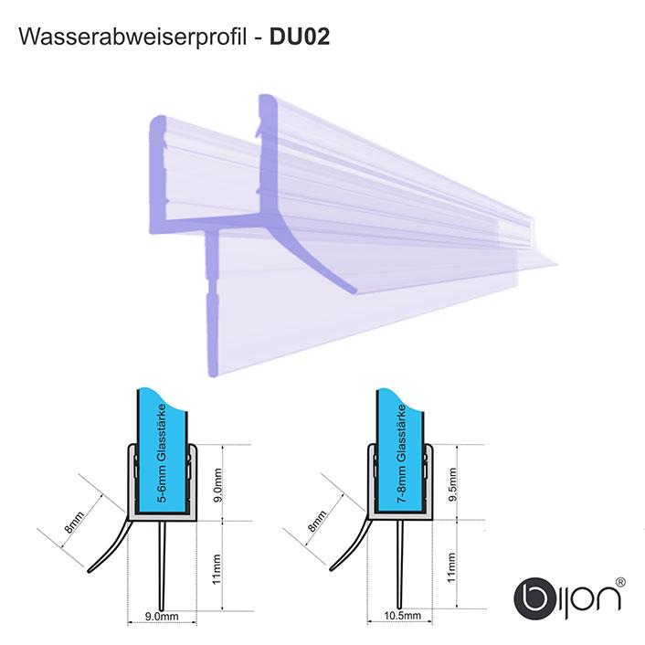 Wasserabweiserprofil gerade - DU02 - Duschdichtung