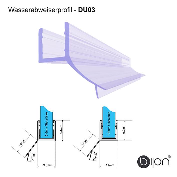 Wasserabweiserprofil gerade - DU03 - Duschdichtung