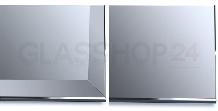 LED-Spiegel - Detailansicht Facettschliff (links) / polierte Kante (rechts)