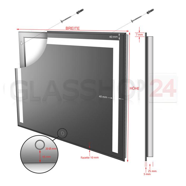 LED-Spiegel in verschiedenen Größen