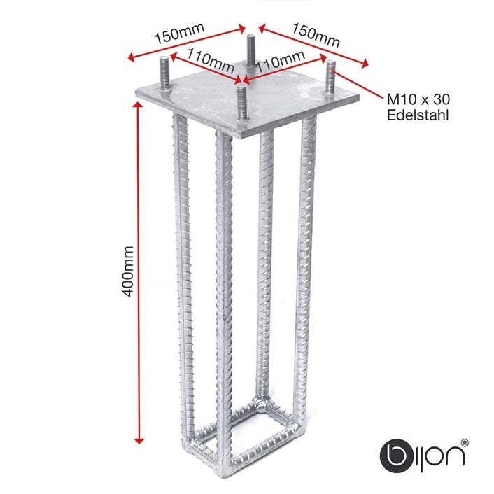 Bodenanker für bijon Glaszaun / Sichtschutz