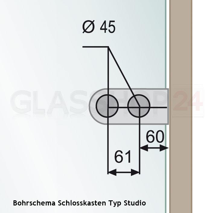 Skizze: Bohrschema Schlosskasten Typ Studio