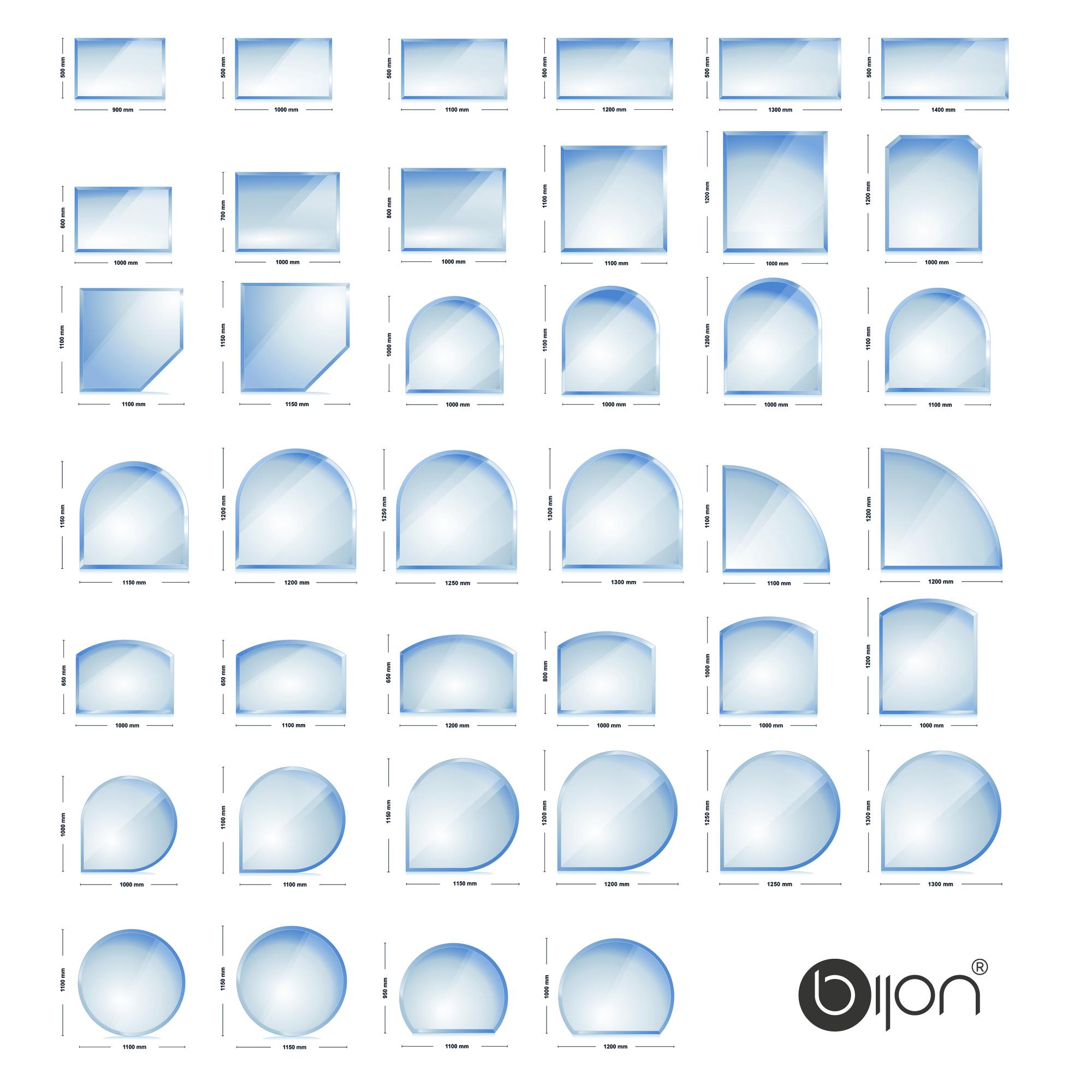 Kaminglasplatten mit 18mm Facette | Optional mit 3-Fach Dichtlippe