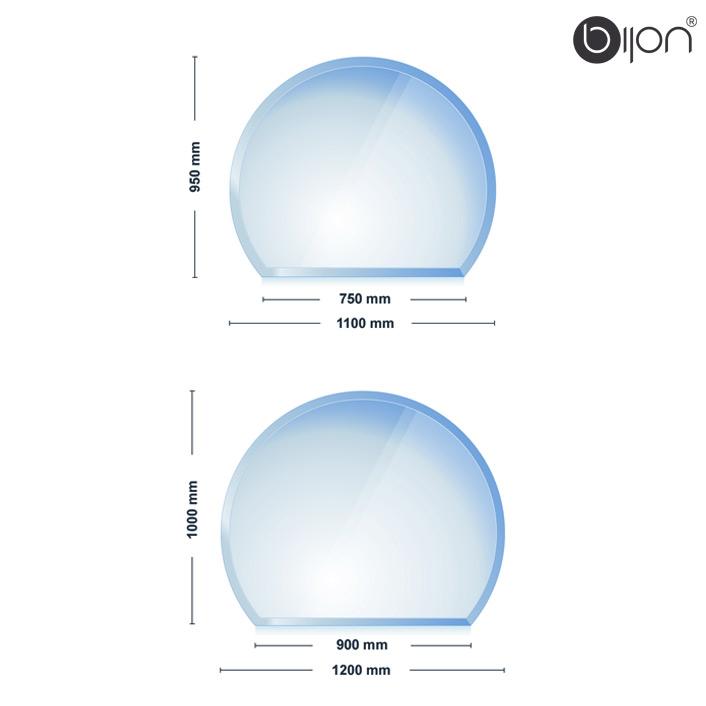 Glasbodenplatte - Kaminglasplatte mit Facettenschliff Kreisabschnitt 950x1100x8mm