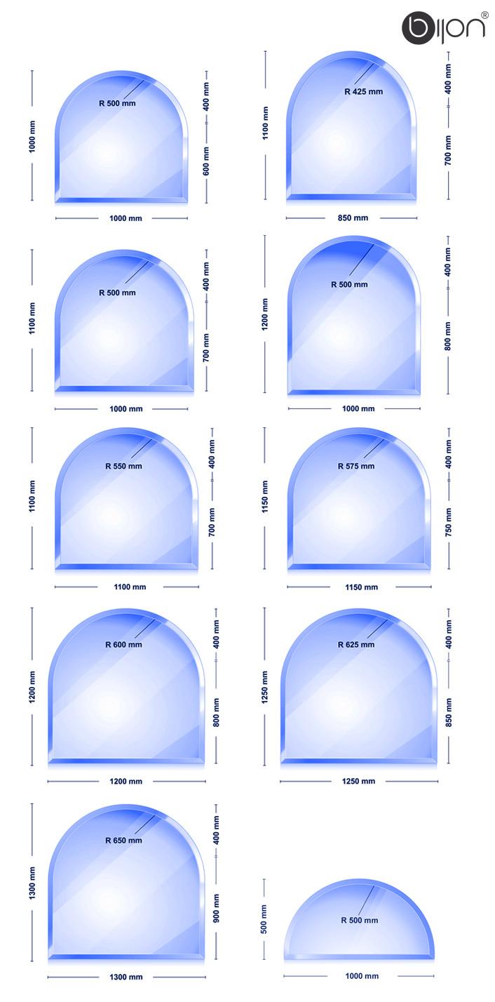 Glasbodenplatte - Kaminglasplatte mit Facettenschliff Rundbogen 1000x1000x8mm