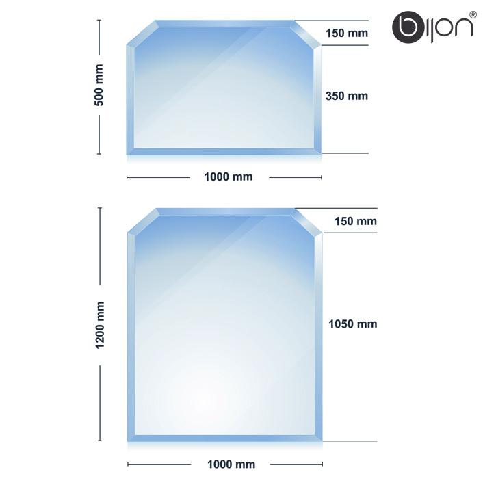 Glasbodenplatte - Kaminglasplatte mit Facettenschliff Sechseck 1200x1000x8mm