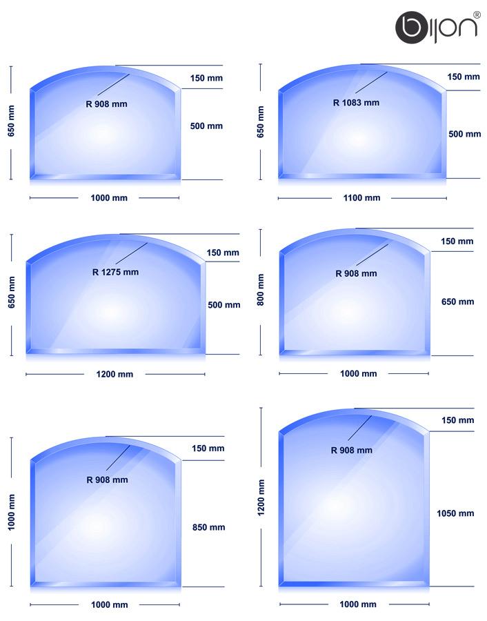 Glasbodenplatte - Kaminglasplatte mit Facettenschliff Segmentbogen 650x1000x8mm