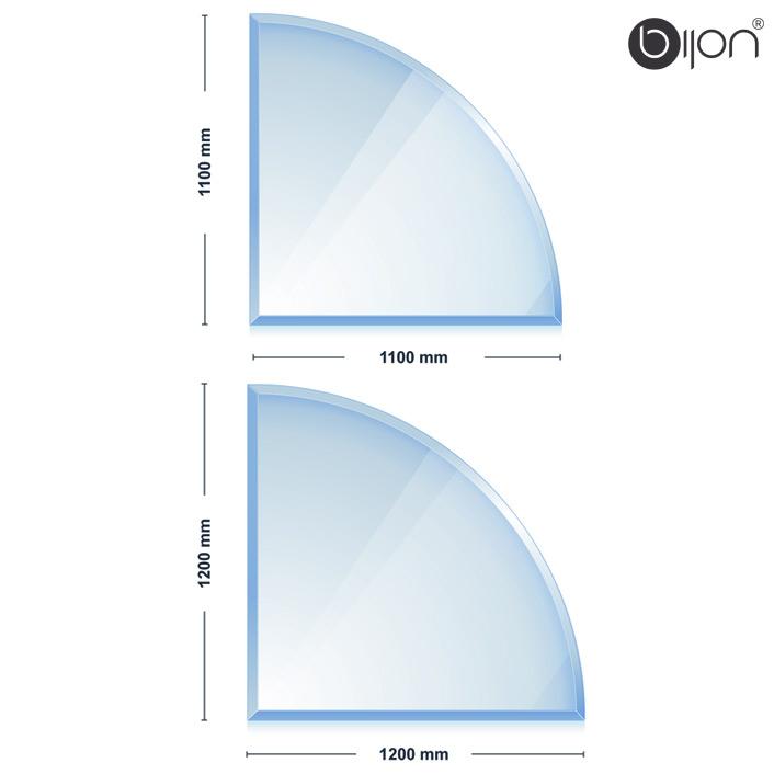 Glasbodenplatte - Kaminglasplatte mit Facettenschliff Viertelkreis 1100x1100x8mm