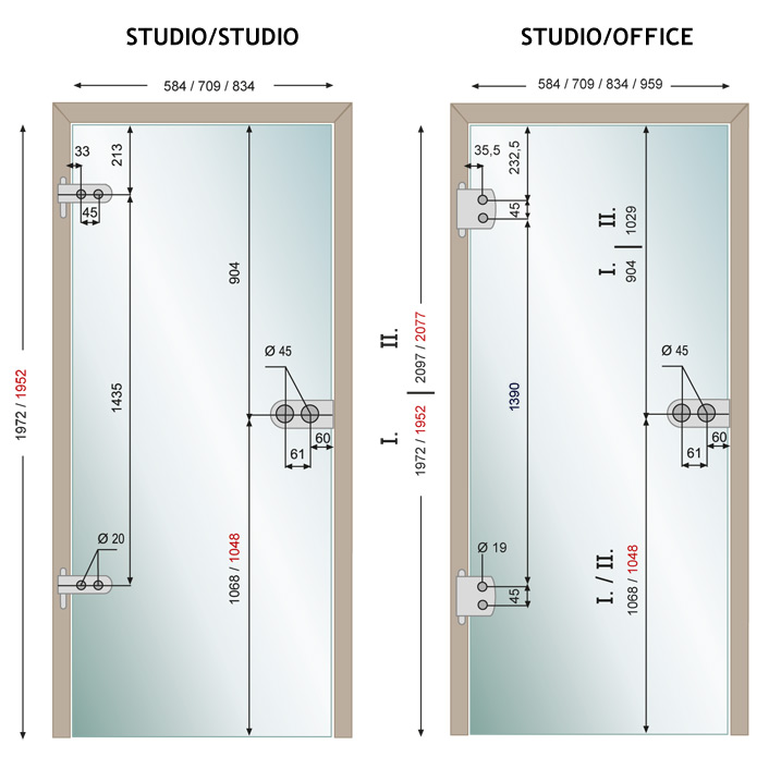 Türzarge maße  Glastür Studio / Office in 58,4 - 70,9 - 83,4 oder 95,9 cm Glas ...