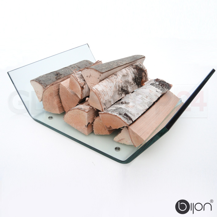 Kaminholzschale aus Echtglas