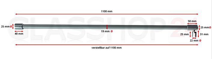 Produktfoto Stabilisierungsstange 1100mm - Edelstahl poliert (V4A)