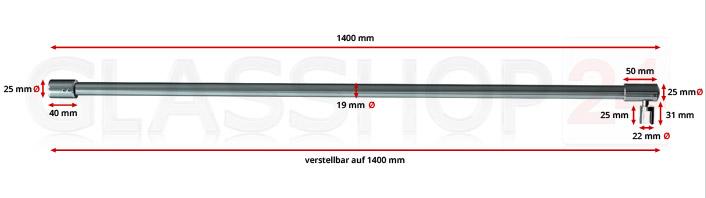 Produktfoto Stabilisierungsstange 1400mm - Edelstahl poliert (V4A) - mit Bemaßung