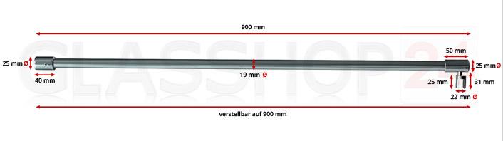 Produktfoto: Detailansicht - Stabilisierungsstange - Edelstahl poliert (V4A)