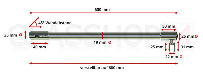 Stabilisierungsstange (schräg) 600mm - Edelstahl poliert (V4A)
